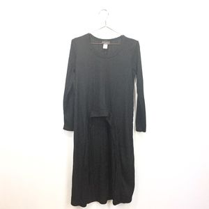 Discreet L Large Tunic Black Long Sleeve Ribbed